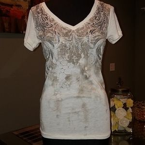 Miss me cream brown tshirt top size small
